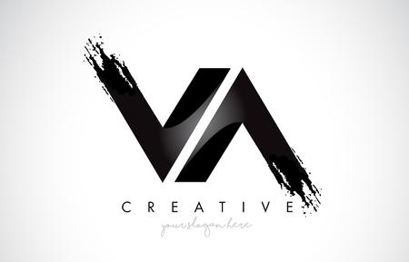 VA Letter Design with Brush Stroke and Modern 3D Look Vector Illustration. Vektorové ilustrace