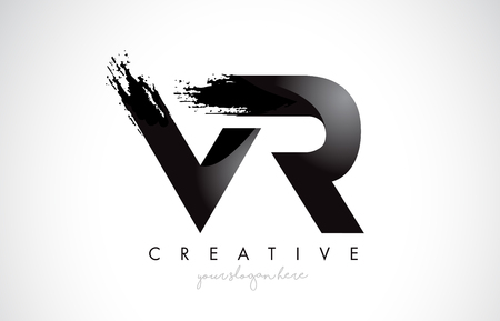 VR Letter Design with Brush Stroke and Modern 3D Look Vector Illustration.