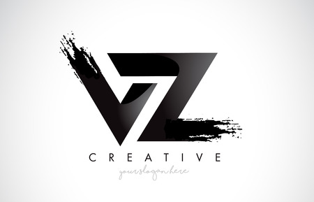 VZ Letter Design with Brush Stroke and Modern 3D Look Vector Illustration.