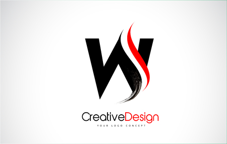 Red and Black W Letter Design Brush Paint Stroke. Letter Logo with Black Paintbrush Stroke.