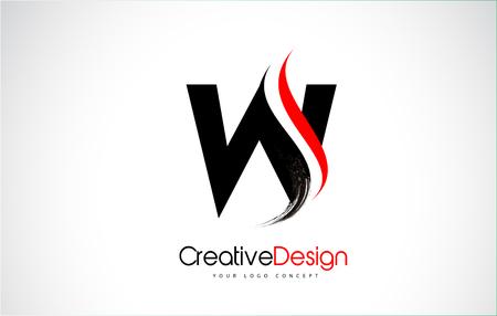 Rot und Schwarz W Letter Design Brush Paint Stroke. Brief-Logo mit schwarzem Pinselstrich.