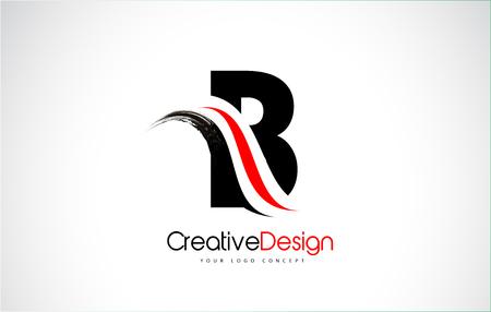 Red and Black B Letter Design Brush Paint Stroke. Letter Logo with Black Paintbrush Stroke.