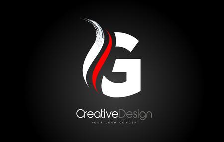 White and Red G Letter Design Brush Paint Stroke. Letter Logo on Black Background Ilustração