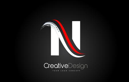 White and Red N Letter Design Brush Paint Stroke. Letter Logo on Black Background Stock Illustratie