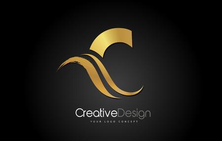 Gold Metal C Letter Design Brush Paint Stroke. Letter Logo on Black Bakground