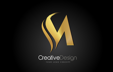 Gold Metal M Letter Design Brush Paint Stroke. Letter Logo on Black Background