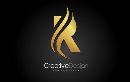 Gold Metal R Letter Design Brush Paint Stroke. Letter Logo on Black Background