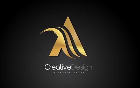 Gold Metal A Letter Design Brush Paint Stroke. Letter Logo with Black Background
