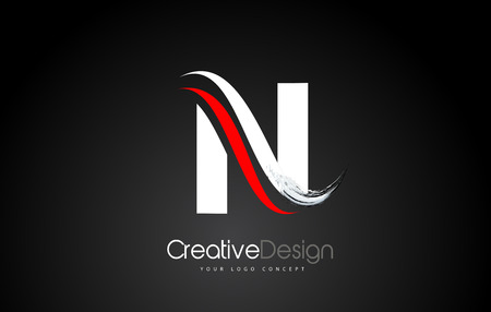 White and Red N Letter Design Brush Paint Stroke. Letter Logo with Black Background
