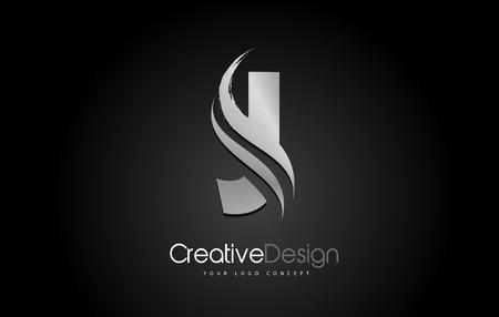 Silver Metal J Letter Design Brush Paint Stroke. Letter Logo on Black Background Logó