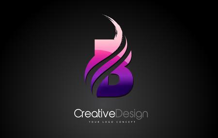 Purple Violet B Letter Design Brush Paint Stroke. Letter Logo with Black Background Ilustração