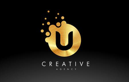 Golden Metal Dots Letter U Logo. U Letter Design Vector with Dots.