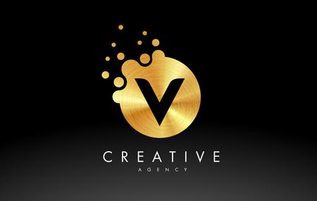 Golden Metal Dots Letter V Logo. V Letter Design Vector with Dots. Illustration