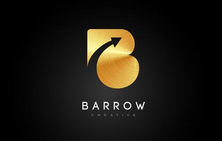 Golden B Logo.B Letter Design Vector Illustration Modern Monogram Icon.