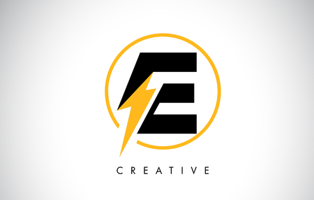 E Letter Logo Design With Lighting Thunder Bolt. Electric Bolt Letter Logo Vector Illustration.