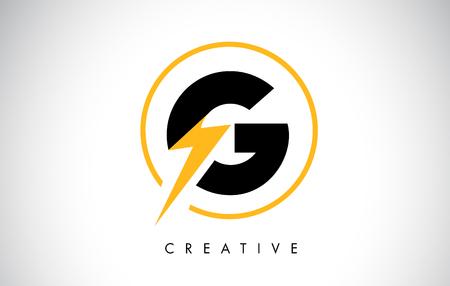 G Letter Logo Design With Lighting Thunder Bolt. Electric Bolt Letter Logo Vector Illustration.