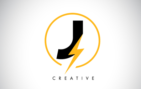 J Letter Logo Design With Lighting Thunder Bolt. Electric Bolt Letter Logo Vector Illustration. Illustration