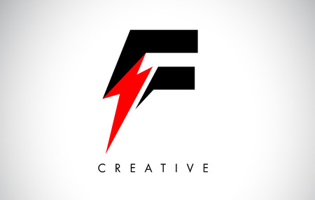 F Letter Logo Design With Lighting Thunder Bolt. Electric Bolt Letter Logo Vector Illustration.