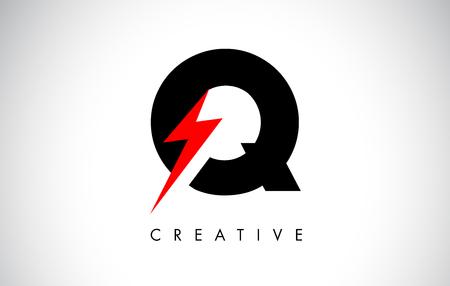 Q Letter Logo Design With Lighting Thunder Bolt. Electric Bolt Letter Logo Vector Illustration.