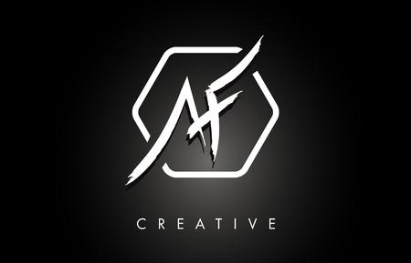 AF A F Brushed Vector Letter Logo Design with Creative Modern Brush Lettering Texture and Hexagonal Shape. Brush Letters Design Logo Vector Illustration. Ilustração