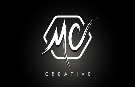 MC M C Brushed Vector Letter Logo Design with Creative Modern Brush Lettering Texture and Hexagonal Shape. Brush Letters Design Logo Vector Illustration.