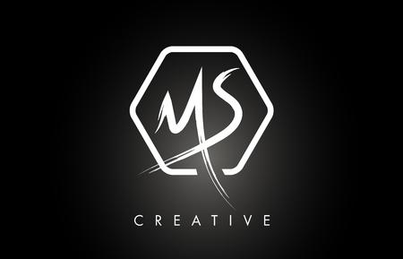 MS M S Brushed Vector Letter Logo Design with Creative Modern Brush Lettering Texture and Hexagonal Shape. Brush Letters Design Logo Vector Illustration. Ilustração