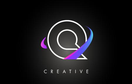 Q Trendy Modern Letter Logo Design Monogram and Creative Swoosh on Black Background Vector Illustration.