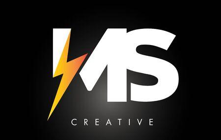 MS Letter Logo Design With Lighting Thunder Bolt. Electric Bolt Letter Logo Vector Illustration.