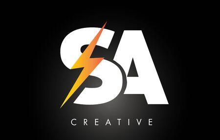 SA Letter Logo Design With Lighting Thunder Bolt. Electric Bolt Letter Logo Vector Illustration. Illustration