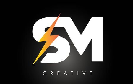 SM Letter Logo Design With Lighting Thunder Bolt. Electric Bolt Letter Logo Vector Illustration. Logo