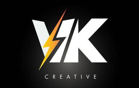 Diseño de logotipo letra VK con iluminación Thunder Bolt. Ilustración de vector de logotipo de letra de perno eléctrico. Logos