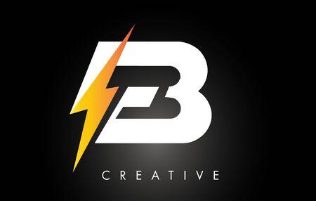 EB Letter Logo Design With Lighting Thunder Bolt. Electric Bolt Letter Logo Vector Illustration.