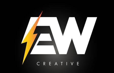 EW Letter Logo Design With Lighting Thunder Bolt. Electric Bolt Letter Logo Vector Illustration.