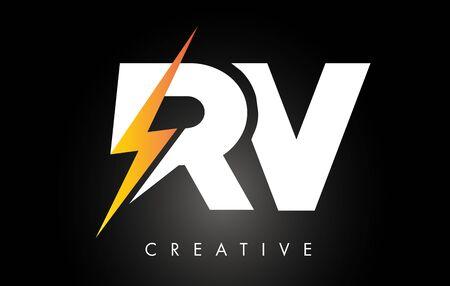 RV Letter Logo Design With Lighting Thunder Bolt. Electric Bolt Letter Logo Vector Illustration. Ilustrace