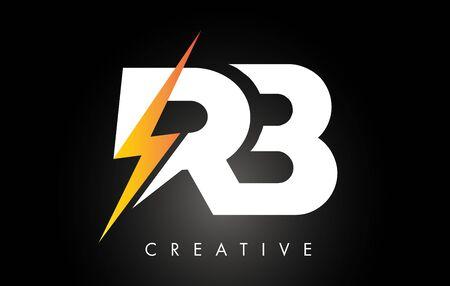 RB Letter Logo Design With Lighting Thunder Bolt. Electric Bolt Letter Logo Vector Illustration. Ilustrace