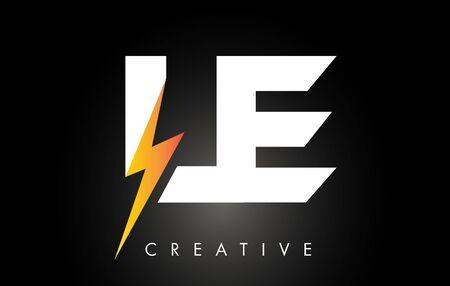 LE Letter Logo Design With Lighting Thunder Bolt. Electric Bolt Letter Logo Vector Illustration.
