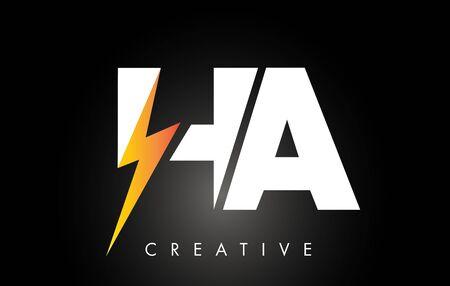 HA Letter Logo Design With Lighting Thunder Bolt. Electric Bolt Letter Logo Vector Illustration.
