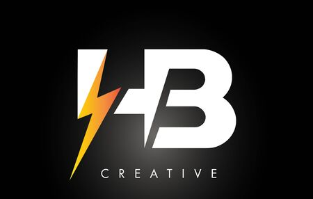 HB Letter Logo Design With Lighting Thunder Bolt. Electric Bolt Letter Logo Vector Illustration.
