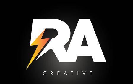 RA Letter Logo Design With Lighting Thunder Bolt. Electric Bolt Letter Logo Vector Illustration. Ilustrace