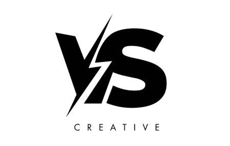 VS Letter Logo Design With Lighting Thunder Bolt. Electric Bolt Letter Logo Vector Illustration.