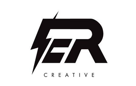 ER Letter Logo Design With Lighting Thunder Bolt. Electric Bolt Letter Logo Vector Illustration. Ilustrace