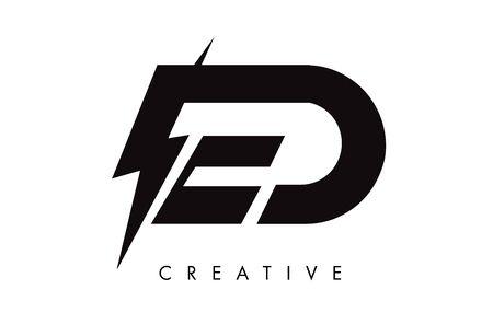 ED Letter Logo Design With Lighting Thunder Bolt. Electric Bolt Letter Logo Vector Illustration. Ilustrace
