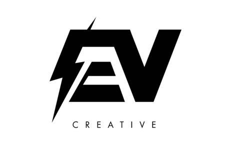 EV Letter Logo Design With Lighting Thunder Bolt. Electric Bolt Letter Logo Vector Illustration. Ilustrace