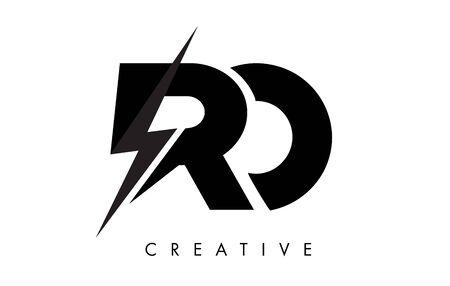 RO Letter Logo Design With Lighting Thunder Bolt. Electric Bolt Letter Logo Vector Illustration. Ilustrace