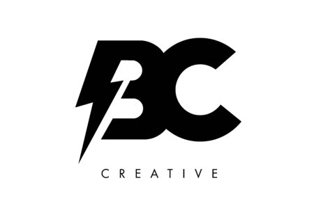 BC Letter Logo Design With Lighting Thunder Bolt. Electric Bolt Letter Logo Vector Illustration.