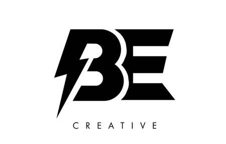 BE Letter Logo Design With Lighting Thunder Bolt. Electric Bolt Letter Logo Vector Illustration.