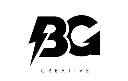 BG Letter Logo Design With Lighting Thunder Bolt. Electric Bolt Letter Logo Vector Illustration.