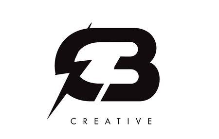 CB Letter Logo Design With Lighting Thunder Bolt. Electric Bolt Letter Logo Vector Illustration. Ilustrace