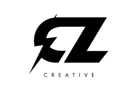 CZ Letter Logo Design With Lighting Thunder Bolt. Electric Bolt Letter Logo Vector Illustration.