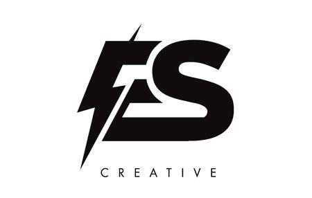 ES Letter Logo Design With Lighting Thunder Bolt. Electric Bolt Letter Logo Vector Illustration. Ilustrace